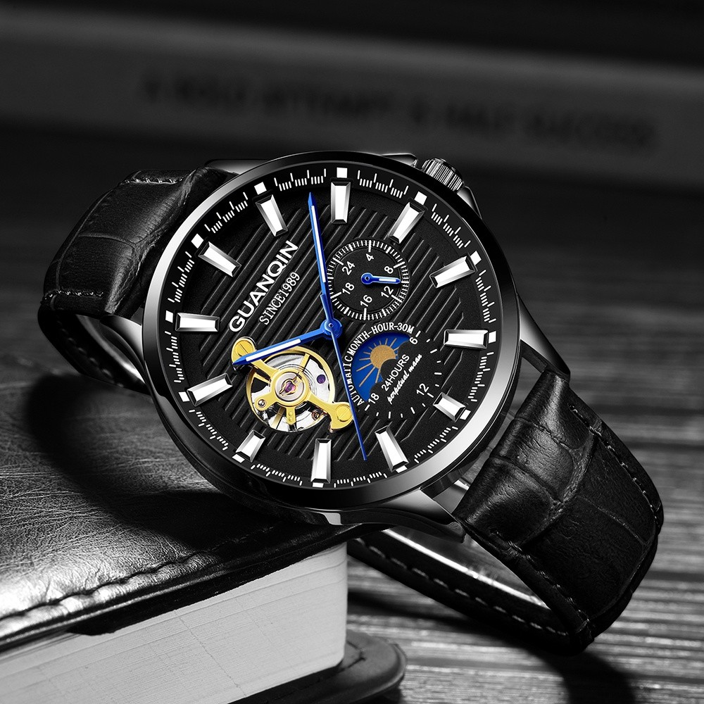 GUANQIN Brand Classic Men's Fashion Watches Automatic Mechanical Tourbillon Clock Genuine Leather Waterproof Business Wristwatch Mechanical Watches     - title=