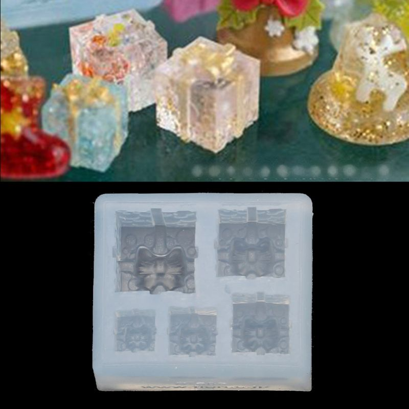 Mini Size Christmas Gift Box Pendant Silicone Resin Molds Jewelry Making Tools