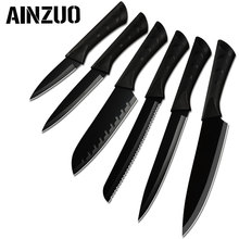 AINZUO Stainless Steel Kitchen Knife Set Non-slip Handle Cutlery Knives Sharp Blade Meat Fish Fruit Sushi Cooking Accessories