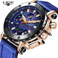 LIGE nouveau hommes montres militaire Sport montre hommes Top marque de luxe en cuir chronographe étanche Quartz horloge Relogio Masculino