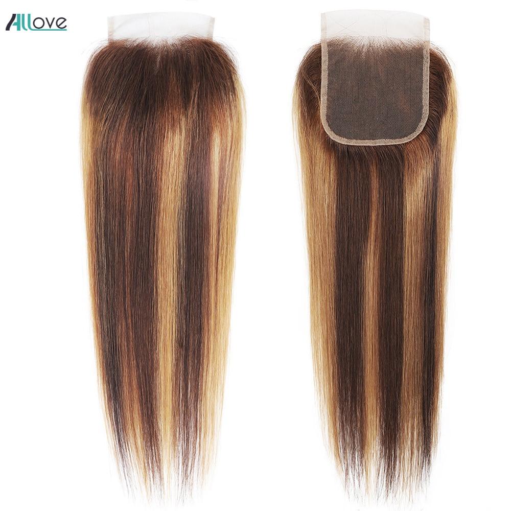 Allove destaque fechamento do laço cabelo reto parte livre 4x4 fechamento do laço não-remybrazilian brown cabelo humano fechamento do laço suíço 1pc
