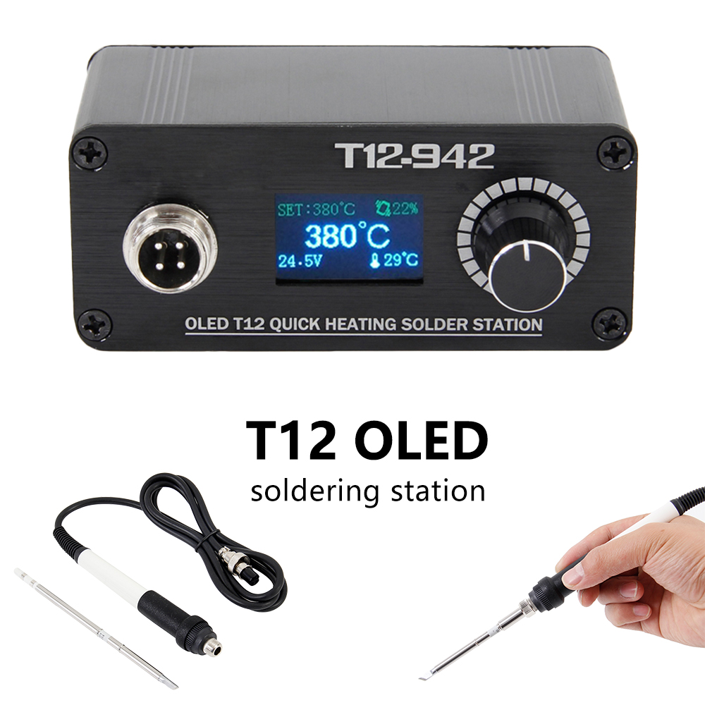MINI T12 OLED Soldering Station Electronics Welding Iron New Design Portable Digital Belts Ksger Heating Kit Controller Holder
