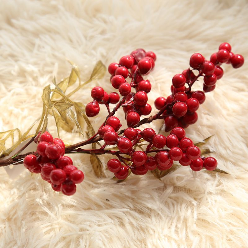Fake Flowers Fruit-Branch-Decoration-Accessories Artificial Home-Decor Small Beans title=