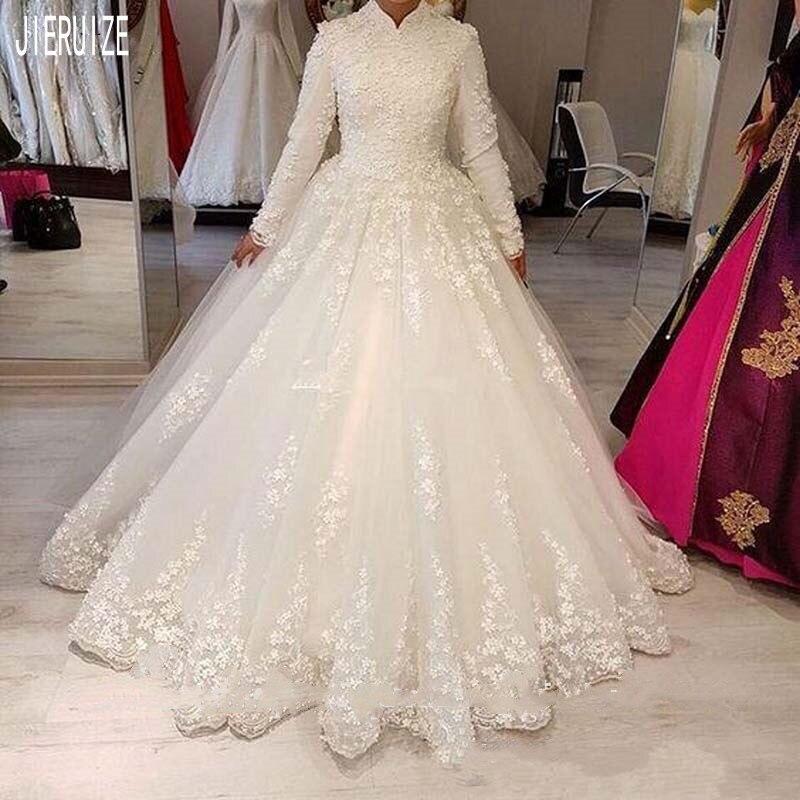 JIERUIZE Luxury Vintage Muslim Wedding Dresses High Neck Long Sleeves White Appliques Bride Dresses Bridal Gowns Robe Mariage