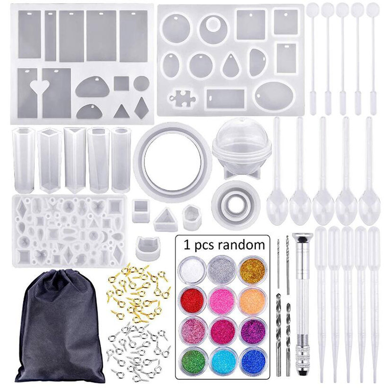 83 Pcs/Set DIY Epoxy Resin Materials Professional Jewelry Making Tools Silicone Mold With Nail Drill Pendant Ornament Mold Tool