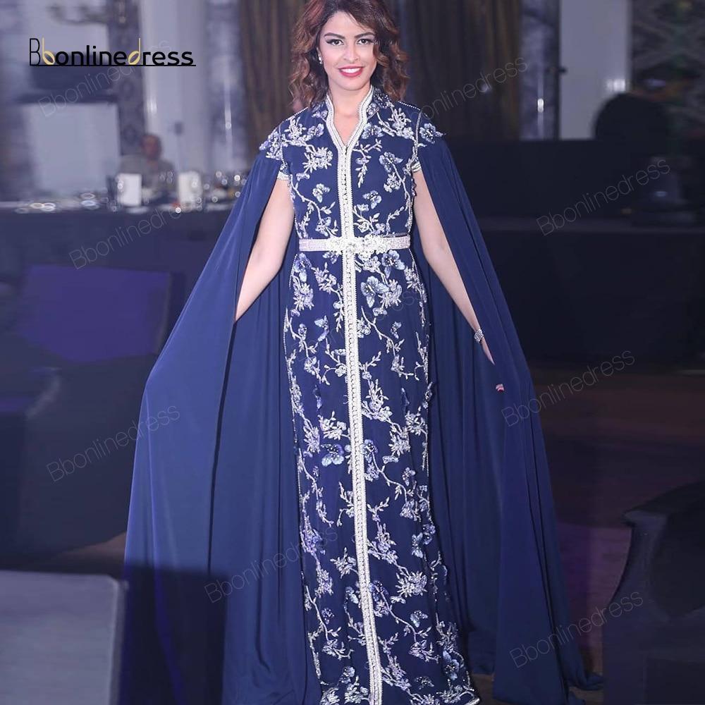Navy Blue Moroccan Kaftan Evening Dresses Emboridery Appliques Long Evening Dress Full Sleeve Arabic Abaya Party-Dress