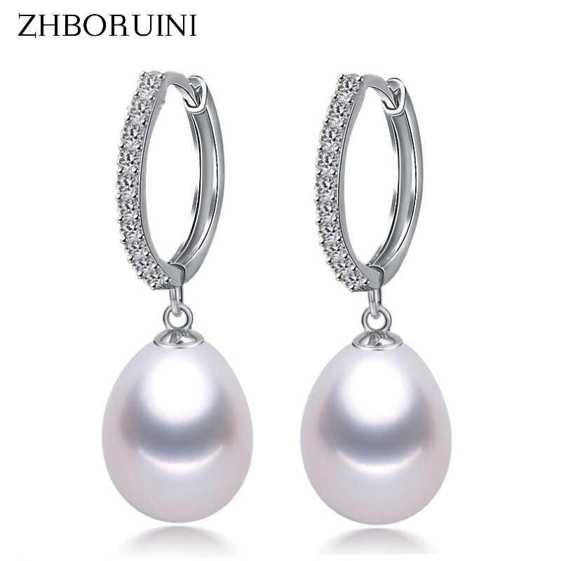 Zhboruini 2019 Mutiara Anting-Anting Asli Mutiara Air Tawar Alami 925 Sterling Silver Anting-Anting Mutiara Perhiasan untuk Wemon Pernikahan Hadiah