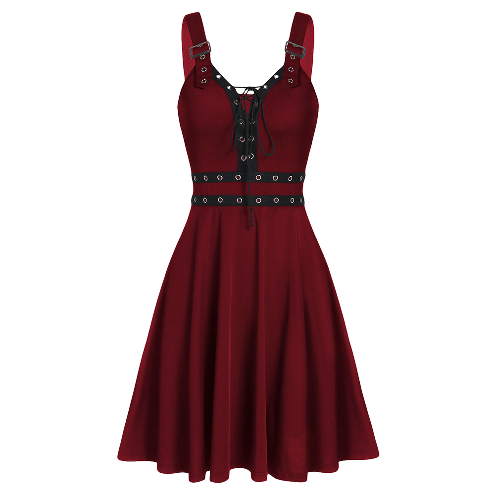 Gothic Women'S Dress Summer Sleeveless Backless A-Line Sexy Punk Dress Rock Lace Up Fit And Flare Dress Long Tunic Top Female