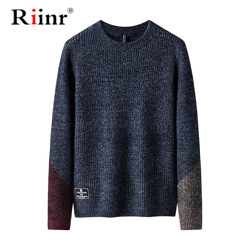 Riinr Autumn Winter Mens Pullover Sweater Men Oneck Casual Round Neck Sweater Men's Slim Fit Knitted Pullovers Clothing 3XL