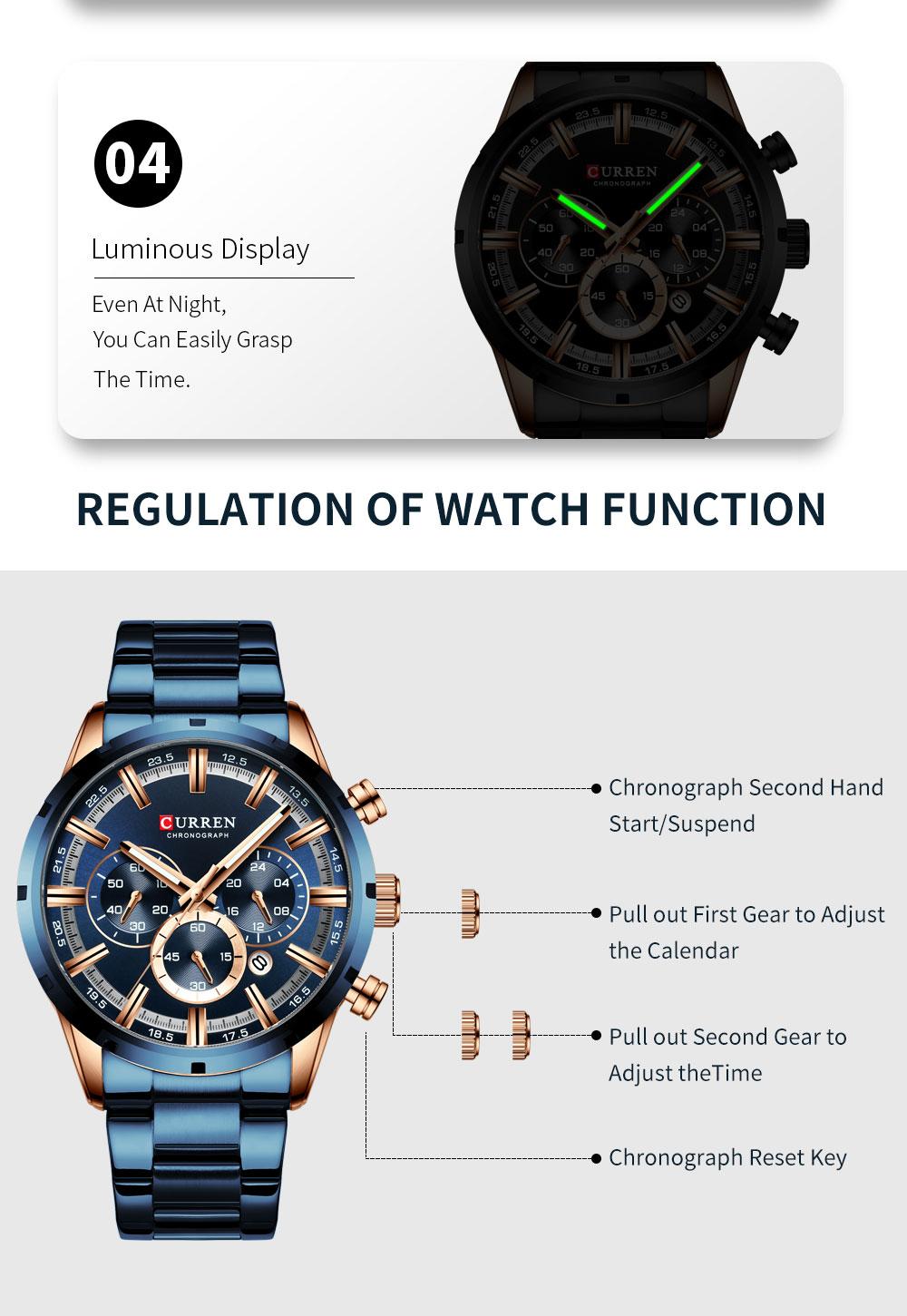H29a08df6f7af446a95283a24ca81114bl CURREN New Fashion Mens Watches Quartz Chronograph