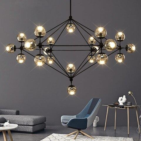 design italiano globo lustre de iluminacao sala estar quarto cozinha ilha lustre bolha vidro preto