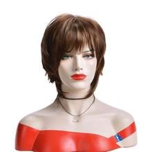 Синтетический парик с короткими смешанными коричневыми волосами для белых женщин, жаропрочные натуральные вьющиеся волосы для косплея, по...