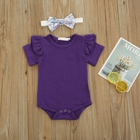 Summer Newborn Infant Baby Girls Clothing Set Flying Sleeve Romper + Suspender Skirt+Headband Clothes Outfits 3Pcs