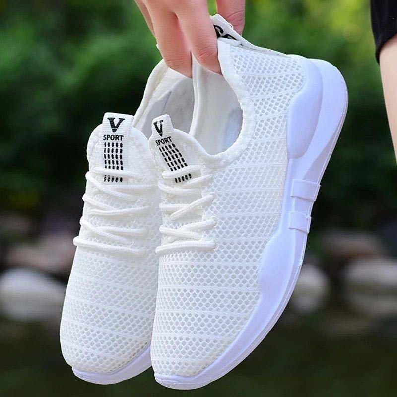 Lightweight Breathable Knitted Mesh Sneakers Women Casual Flat Running Shoes Summer Tennis Trainers Outdoor Sports Walking Shoe