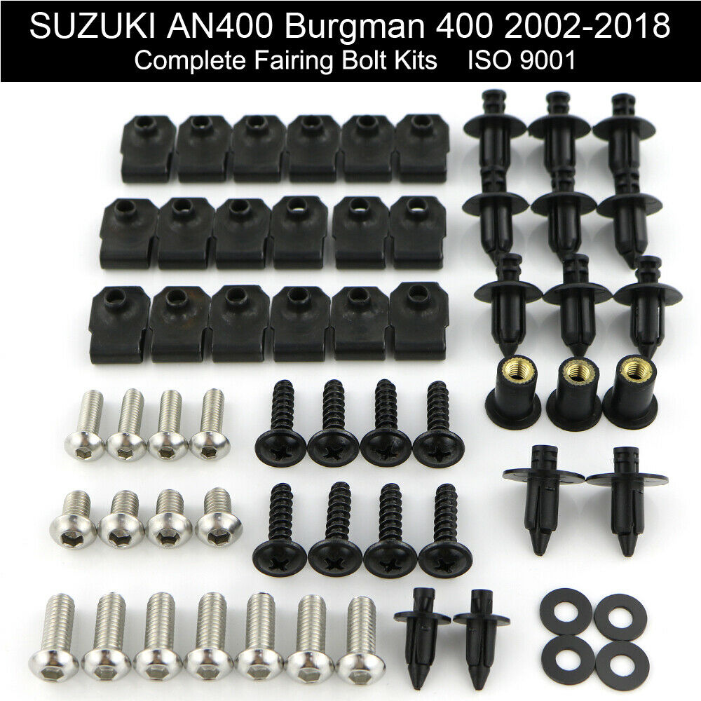 For Suzuki AN400 Burgman 400 2002-2018 Motorcycle Complete Full Fairing Bolts Kit Fairing Clips Nuts Body Screws Stainless Steel