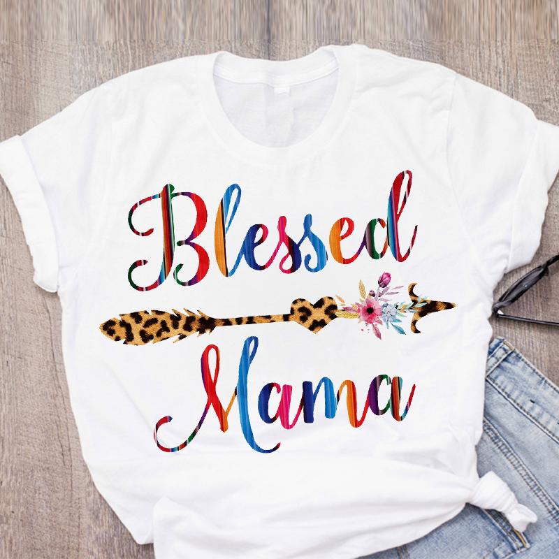 Women Mom Life Leopard Arrow Blessed Mother Short Sleeve Summer Lady Womens Clothing Tops T-Shirt Shirt Tees Female T Shirt