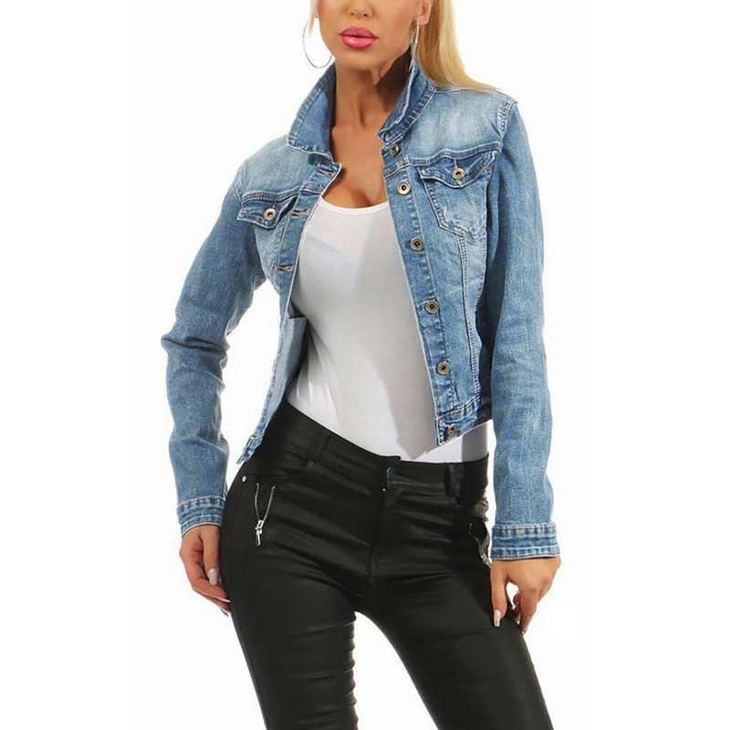 Baru Memudar Mencuci Jaket Jeans Wanita Kasual Single Breasted Denim Jaket Mantel Longgar Wanita Korea Jaket Merek Chaqueta Mujer 2019