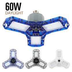 Super Bright oświetlenie przemysłowe światło 40W 60W E26 Led lampa garażowa 6000 lm AC85 265V składana trójlistna lampa deformacyjna w Oświetlenie przemysłowe od Lampy i oświetlenie na