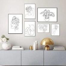 Skandynawski abstrakcyjny kobieta linia plakat drukuje minimalistyczne rośliny liście płótno malarstwo obrazy na ścianę apartament sypialnia Home Decor