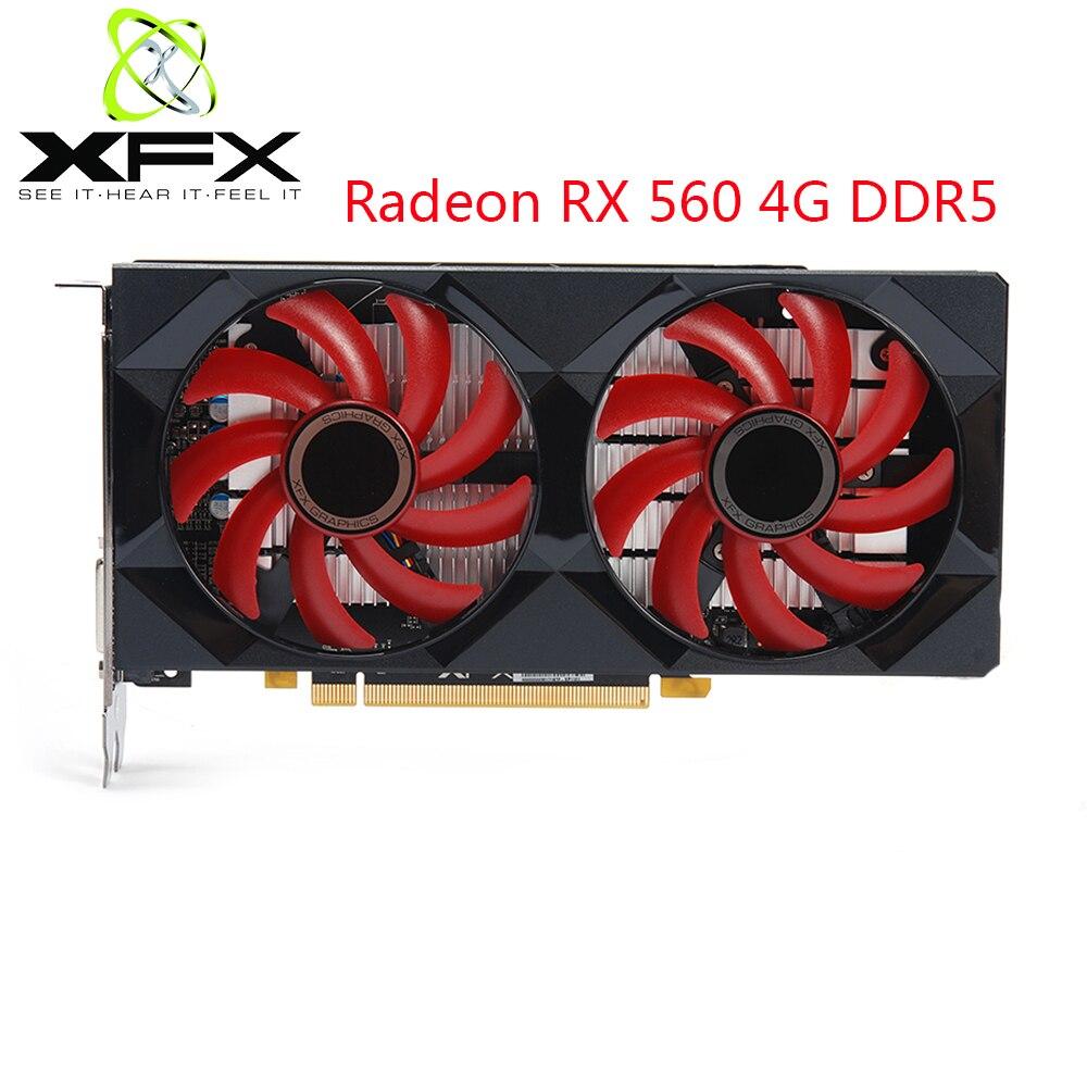 XFX Radeon RX 560 4GB DDR5 Gaming PC cartes graphiques GPU 128 Bit RX 560 cartes vidéo de bureau ordinateur Gamer utilisé AMD carte vidéo