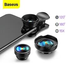 Baseus lente gran angular para teléfono móvil, lente de cámara Macro 15X ojo de pez para iPhone Xs Max Xr X Samsung S10 S9 Huawei P30 Pro