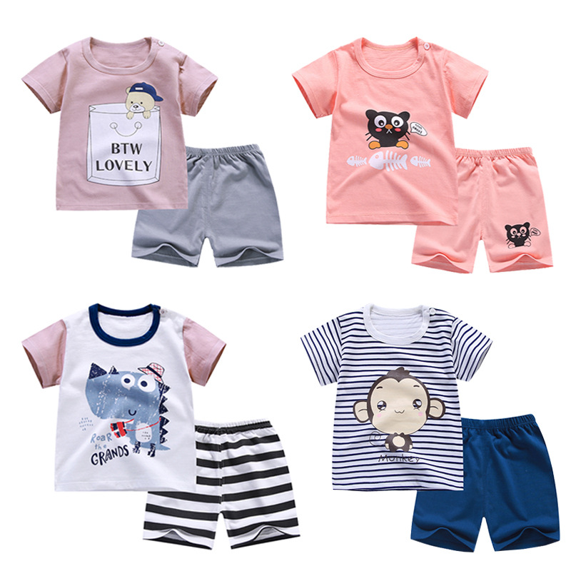 2020 New Summer Cotton Cartoon Baby Clothing Set 0-6 Year Children Clothing Sets Boys Clothes Girls Clothes T-shit+Pants Suit