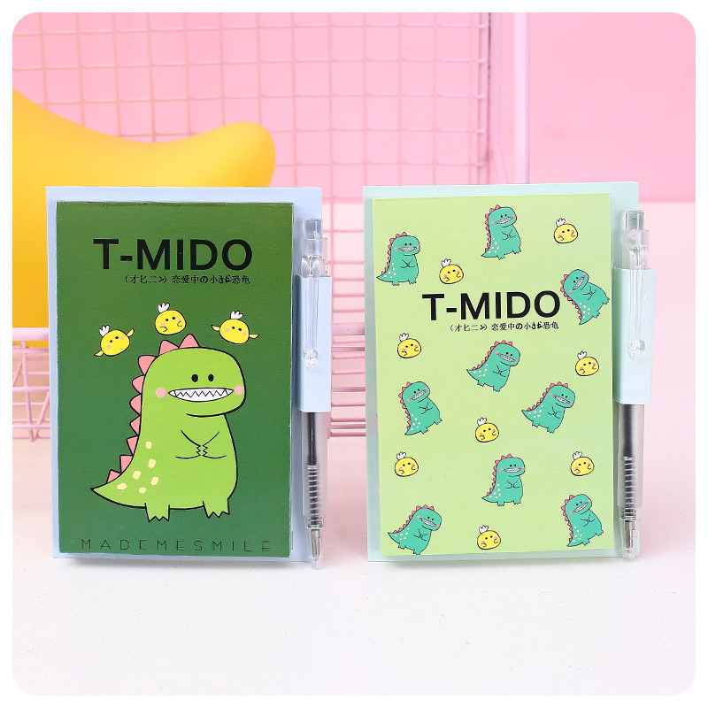 Kawaii Little Dinosaur With Ballpoint Pen To Do List Planner Notepad Diary Book Exercise Book School Office Supply Stationery