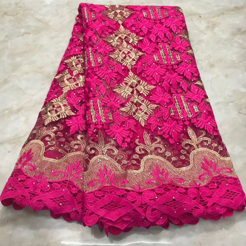 Nigerian Lace Fabric 2019 High Quality Lace Materials Tissue African French Embroideried Lace Fabrics With Stones 5 Yards
