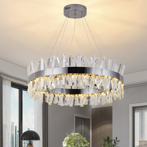 Image 3 - Youlaike 현대 LED 샹들리에 거실 럭셔리 크리스탈 샹들리에 조명 골드/크롬 세련 된 철강 디자인 교수형 램프