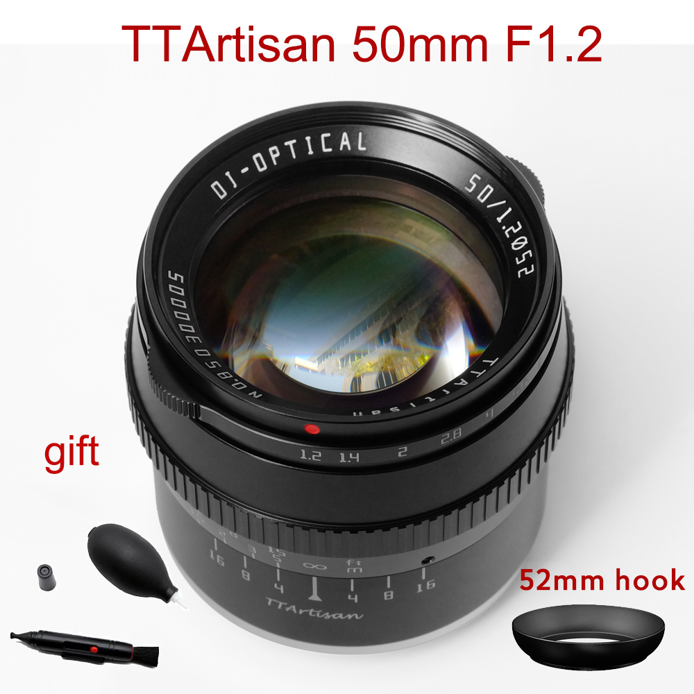 TTArtisan 50mm F1.2 Lens for Sony E Fujifilm M4/3 Canon M M43 Nikon Z Leica L Mount Camera Large Aperture MF APS-C Camera Lens