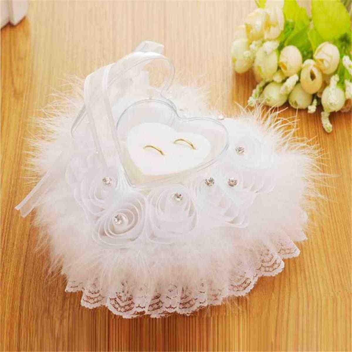 White Ring Pillow Heart Shaped Party Wedding Decoration Valentine's Day Gift Ring Box Rhinestone Diamond Cushion Holder Gifts