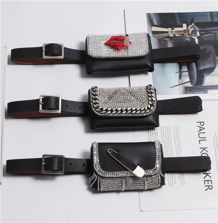 2020 Mini Waist Packs Women Diamonds Rhinestone Waist Belt With Money Bag PU Leather Liptstick Coin Key Street Female Fanny Pack