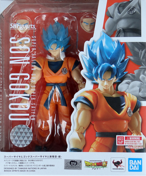 Original BANDAI Dragon Ball Super SHF God Blue Goku Action Figure Figurals Model Dolls Brinquedos