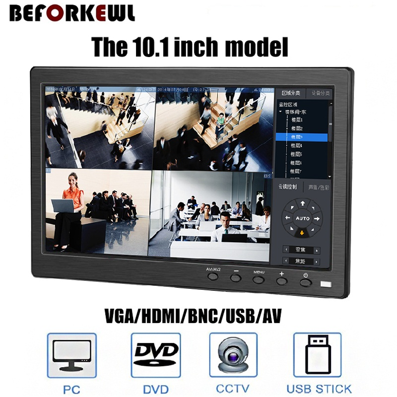 """10.1"""" LCD HD Monitor & Computer Display Color Screen 2Channel Video Input Security Monitor With BNC / AVI / VGA / HDMI"""
