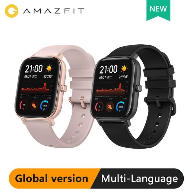 النسخة العالمية Amazfit GTS ساعة ذكية Huami نظام تحديد المواقع المهنية مقاوم للماء Smartwatch 12 وسائط الرياضة معدل ضربات القلب أندرويد iOS