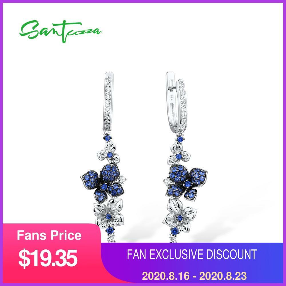 SANTUZZA Silver Earrings For Women Pure 925 Sterling Silver Dangle Blue Butterfly Earrings brincos Fashion Jewelry
