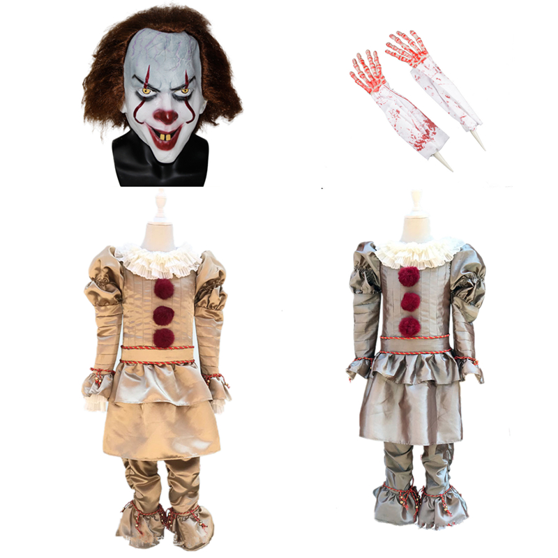 Children 2019 Stephen King IT 2 It: Chapter Two Pennywise Cosplay Costume Outfit Clown Suit For Kids Halloween Carnival Party