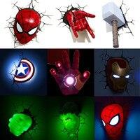 Lámpara LED de pared para decoración de dormitorio de niños, Los vengadores de Marvel 3D, Iron Man, Hulk, martillo, Capitán América, regalo de Navidad, luz nocturna