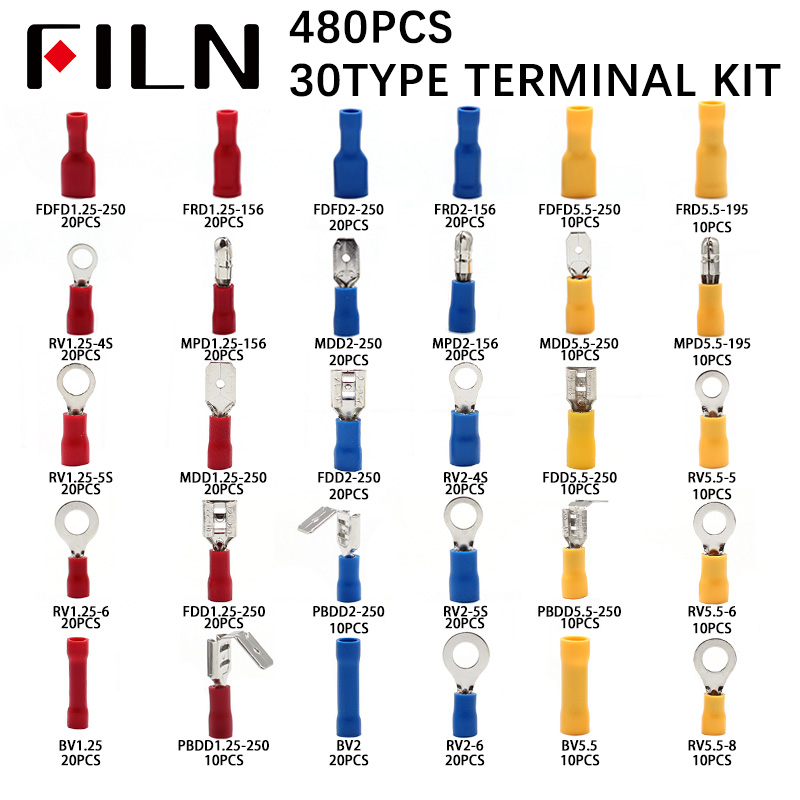480pcs/BOX 30types Group Combine Boxed Terminal Cold Pressure Electrical Wire Crimp Kit Insulated Spade Butt Connectors Assorted image