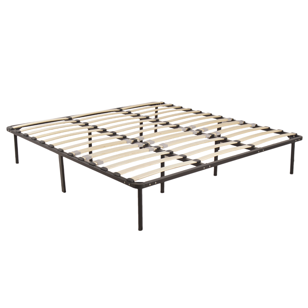 (US) King Size Metal Iron Bed With Wooden Slat Black Dropshipping