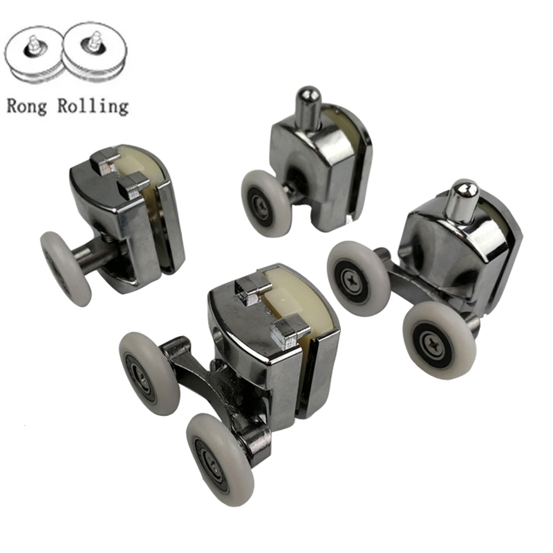 Zinc Alloy Bearing Hardware Sliding Shower Glass Door Roller Runner Pulleys Diameter 23mm/25mm Shower Door Accessories.