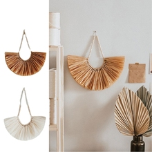 Ornament Hanging-Decoration Farmhouse Living-Room Home Wood for Handcraft Bead Straw-Wall