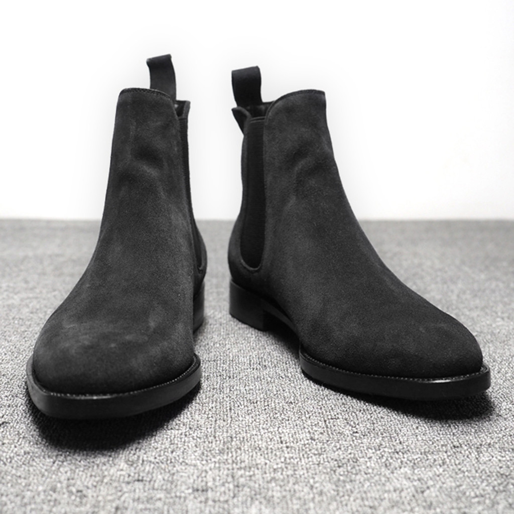 Mens Boots Men Chelsea Boots Ankle Boots Plus Velvet High-top Boots Outdoor Walking Shoes Wear Resistant Casual Shoes L2