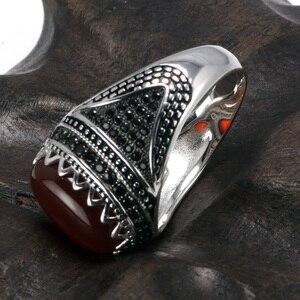 Image 3 - Garantili % 925 gümüş yüzük taç Retro Vintage erkekler için türk yüzükler doğal taşlar ile siyah yeşil kırmızı renk Ringen