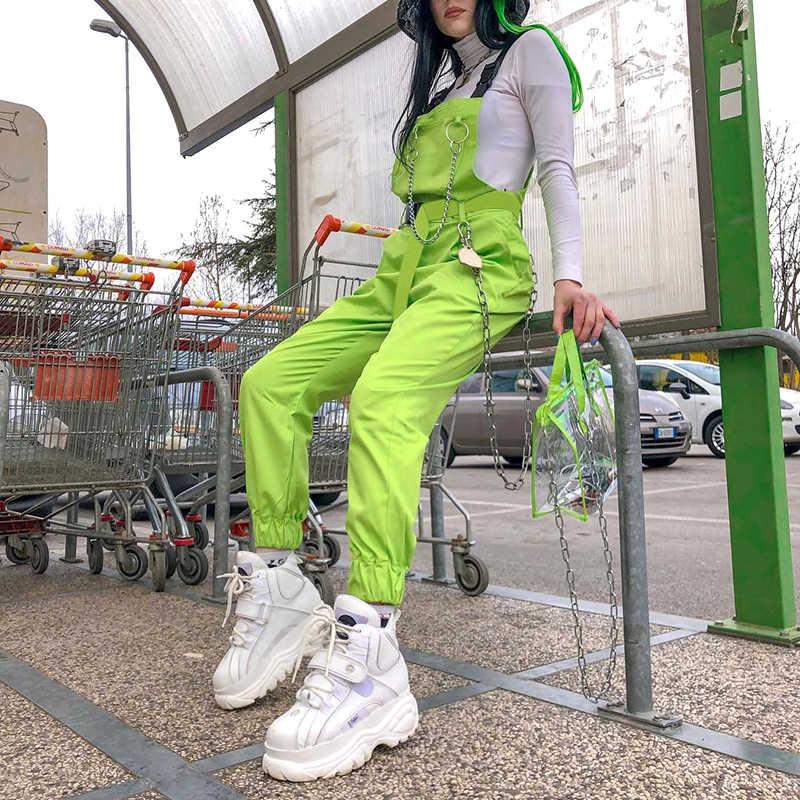 Rockmore Punk salopette femmes Cargo pantalon avec chaîne Streetwear boucle à bretelles taille haute pantalons longs Harajuku Femme pantalon automne