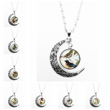 2019 New Cartoon Cute Bird Romantic Pattern Series Glass Cabochon Pendant Moon Necklace Girl Jewelry Gift