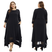 Muslim Womens Designer Dresses Three Quarter Sleeve Plus Size Solid Color Clothing