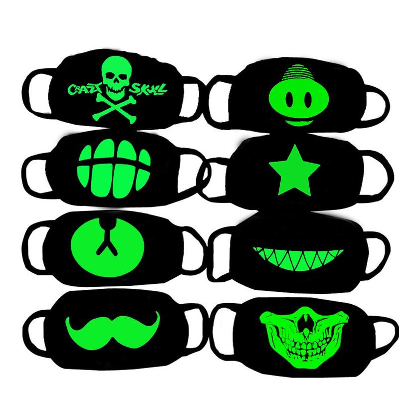 Glow In Dark Skull Scarey Masks Black Mask Mouth Half Face Masquerade Cosplay Costume Mask DIY Party Decorations