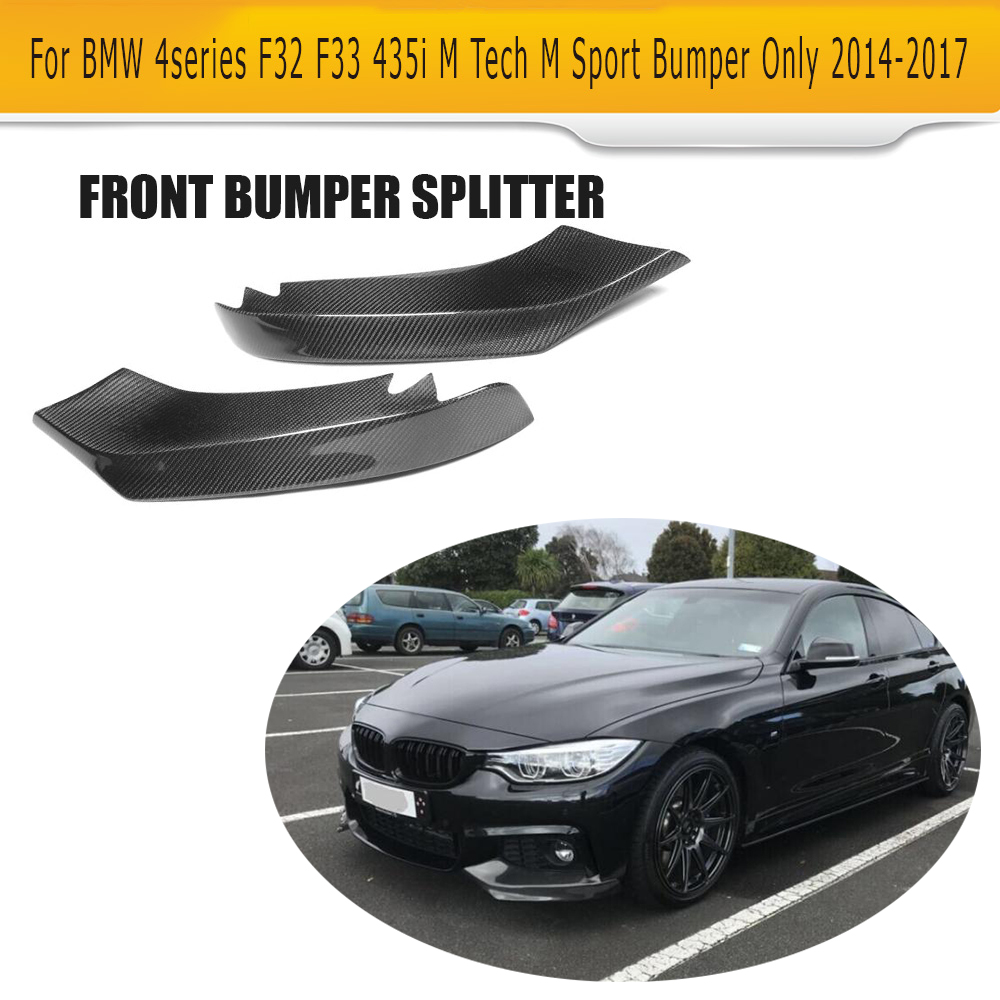 4 Series Carbon Fiber Front Splitter Bumper Lip Spoiler for BMW F32 F33 435i M Sport Only 2014-2017 Car-Styling