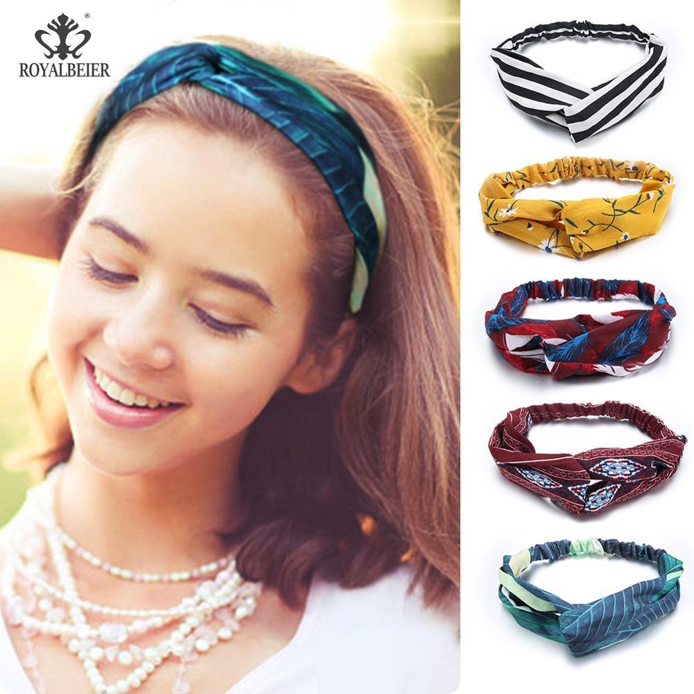 Bohemian Style Hairbands Women Hair Band Bows Elastic Headkerchief Sport Head Band Cross Knot for Girls   Headwear   Headwrap HB069